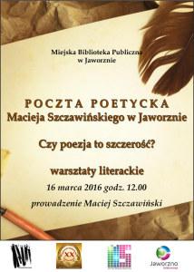 Poczta poetycka Macieja Szczawińskiego w Jaworznie